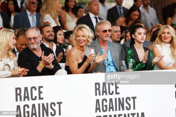 Liam Cunningham Pamela Anderson Eddie Irvine Jolie Nguyen and Hofit Golan attend the Amber Lounge Fashion Monaco 2017 at Le Meridien Beach Plaza...