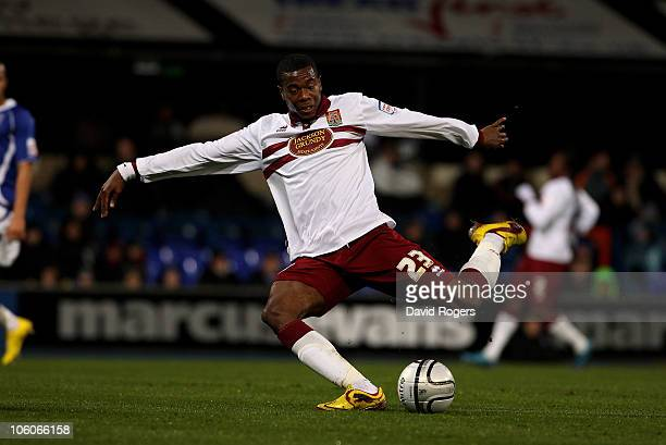 Liam Davis of Northampton scores the first goal during the Carling Cup fourth round match between Ipswich Town and Northampton Town at Portman Road...