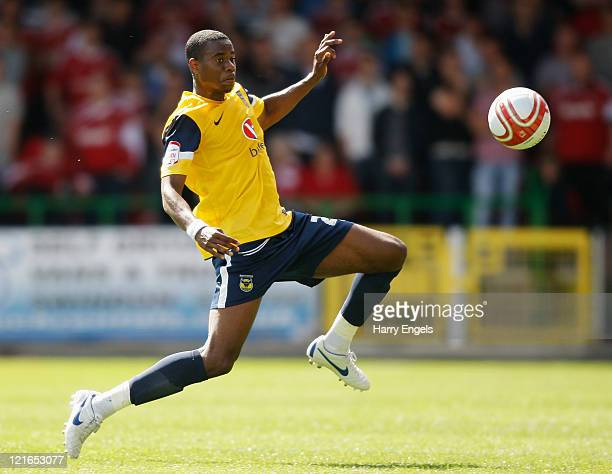 Liam Davis of Oxford United controls the ball during the npower League Two match between Swindon Town FC and Oxford United at the County Ground on...