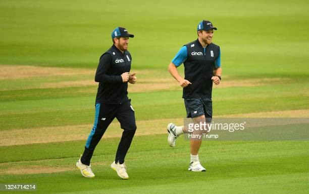 Liam Dawson and David Willey England look on during an England Nets Session at Sophia Gardens on June 21, 2021 in Cardiff, Wales.
