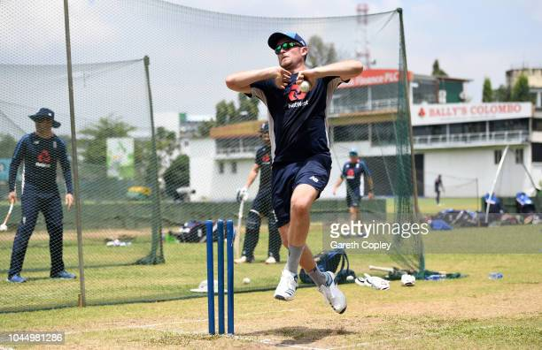 Liam Dawson of England bowls during a nets session at P Sara Oval on October 3 2018 in Colombo