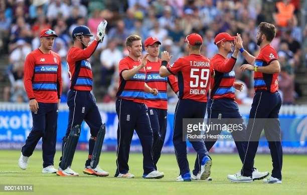 Liam Dawson of England celebrates taking the wicket of JJ Smuts of South Africa during the 2nd NatWest T20 International match between England and...