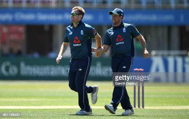 Liam Dawson of England Lions celebrates dismissing Shubman Gill of India A during the TriSeries International match between England Lions and India A...