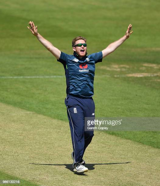 Liam Dawson of England Lions successfully appeals for the wicket of Sherman Lewis of West Indies A during the TriSeries International match between...