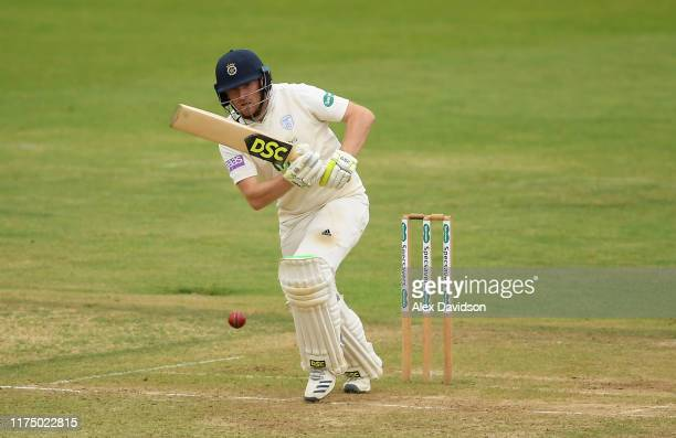 Liam Dawson of Hampshire bats during Day One of The Specsavers Division One County Championship match Hampshire and Somerset at The Ageas Bowl on...