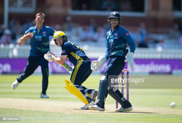 Liam Dawson of Hampshire batting as Sam Billings of Kent looks on during the Royal London OneDay Cup match between Hampshire and Kent at Lord's...