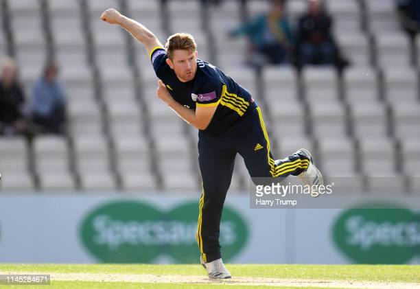 Liam Dawson of Hampshire bowls during the Royal London One Day Cup match between Hampshire and Gloucestershire at The Ageas Bowl on April 26 2019 in...