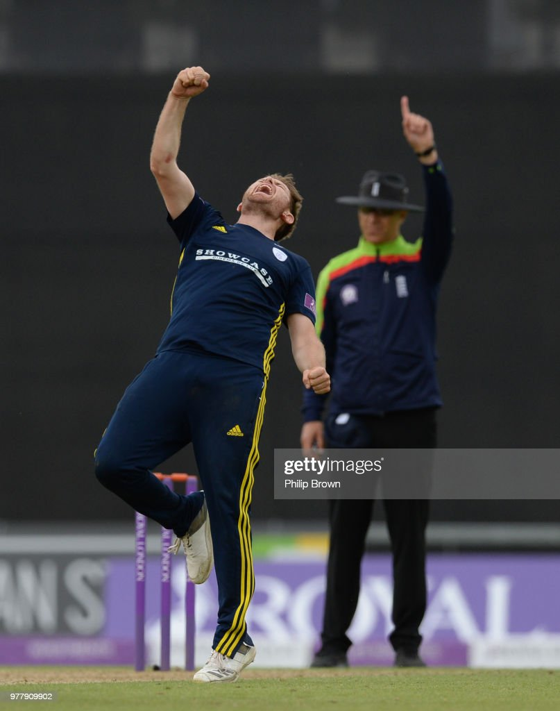 Liam Dawson of Hampshire celebrates the dismissal of Matthew Fisher of Yorkshire Vikings during the Royal London One-Day Cup Semi-Final match between Hampshire and Yorkshire Vikings at the Ageas Bowl on June 18, 2018 in Southampton, England.