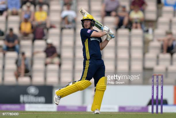 Liam Dawson of Hampshire hits out during the Royal London OneDay Cup SemiFinal match between Hampshire and Yorkshire Vikings at the Ageas Bowl on...