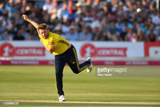 Liam Dawson of Hampshire in action during the Vitality Blast match between Sussex Sharks and Hampshire at The 1st Central County Ground on July 24...