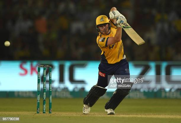 Liam Dawson of Peshawar Zalmi plays a shot during the Pakistan Super League final match between Peshawar Zalmi and Islamabad United at the National...