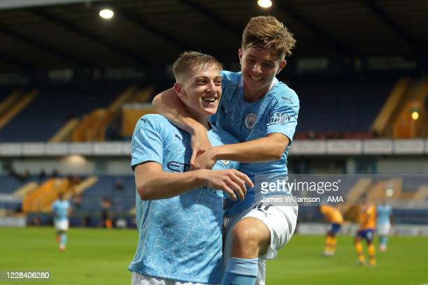 Liam Delap of Manchester City celebrates after scoring a goal to make it 0-2 during the EFL Trophy Northern Section Group E match between Mansfield...