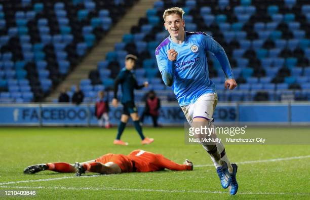 Liam Delap of Manchester City celebrates after scoring his teams first goal during the FA Youth Cup Sixth Round match between Manchester City and...