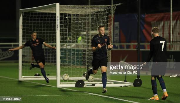 Liam Delap of Manchester City celebrates scoring his teams second goal during the FA Youth Cup Semi Final match between Blackburn Rovers and...