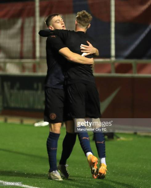 Liam Delap of Manchester City celebrates scoring his teams second goal with Cole Palmer of Manchester City during the FA Youth Cup Semi Final match...