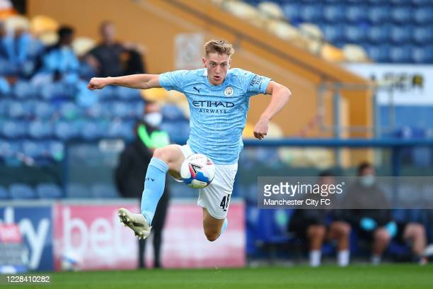 Liam Delap of Manchester City during the EFL Trophy match between Mansfield Town and Manchester City U21 at One Call Stadium on September 8, 2020 in...