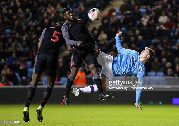 Liam Delap of Manchester City fires a shot at goal during the Under 18's Premier League 2 Cup Final at The Academy Stadium on March 10 2020 in...