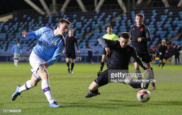 Liam Delap of Manchester City scores his teams second goal during the Under 18's Premier League 2 Cup Final at The Academy Stadium on March 10 2020...