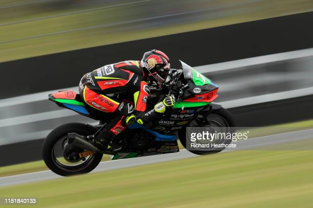 Liam Delves in action during the Pirelli National Superstock 600 Championship at Donington Park on May 26, 2019 in Castle Donington, England.