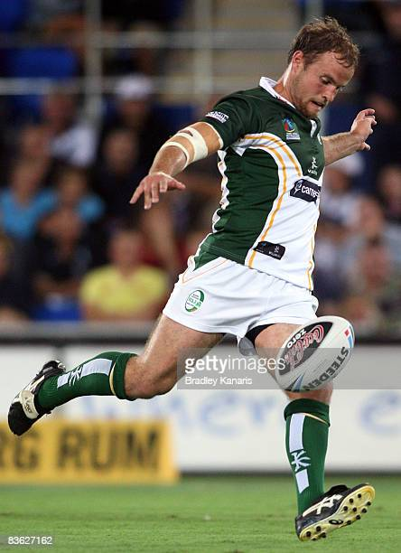 Liam Finn of Ireland kicks the ball during the 2008 Rugby League World Cup Semifinal qualifying match between Fiji and Ireland at Skilled Stadium on...
