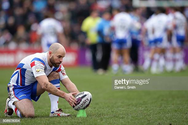 Liam Finn of Wakefield Wildcats prepares to convert a try during the First Utility Super League Round One match between Wakefield Wildcats and Widnes...