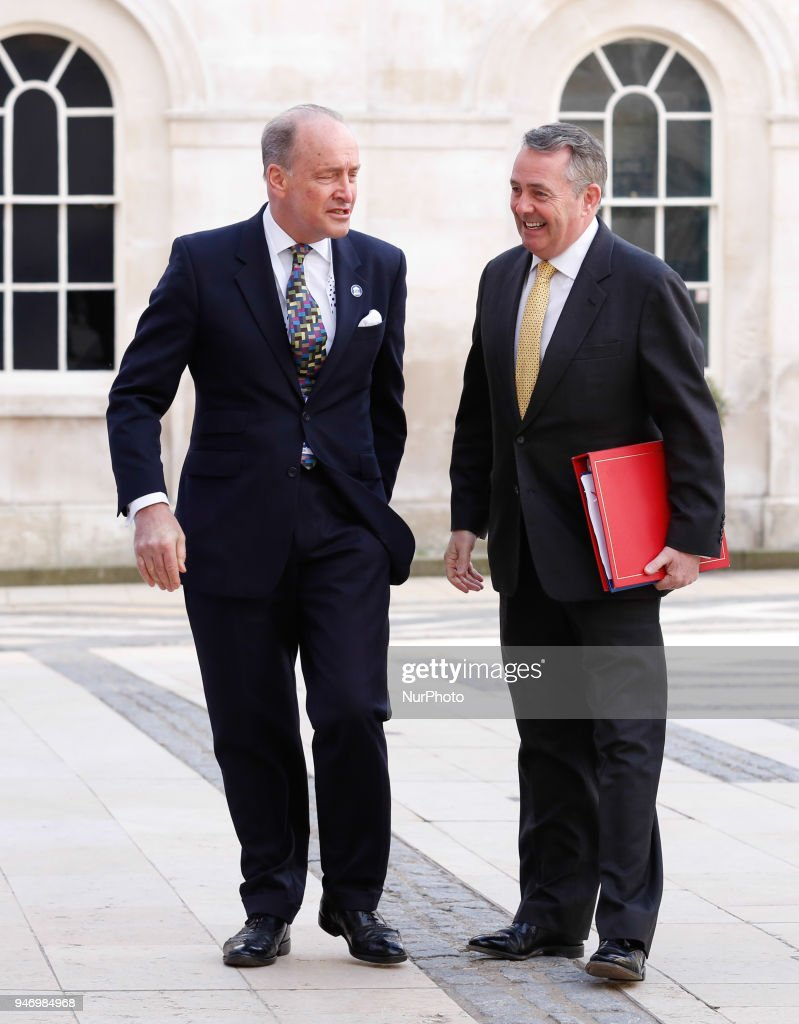 MP Liam Fox is being welcomed by the Lord Mayor of London, Charles Bowman at the Guildhall for the Business Forum Opening Session on Delivering a Prosperous Commonwealth For All during the Commonwealth Heads of Government Meeting in London, United Kingdom, April 16, 2018.