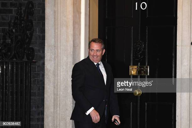 Liam Fox the Secretary of State for International Trade arrives at 10 Downing Street as Prime Minister Theresa May reshuffles her cabinet on January...