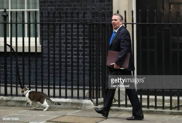 Liam Fox UK International Trade Secretary departs 10 Downing Street on March 29 2017 in London England Later today British Prime Minister Theresa May...