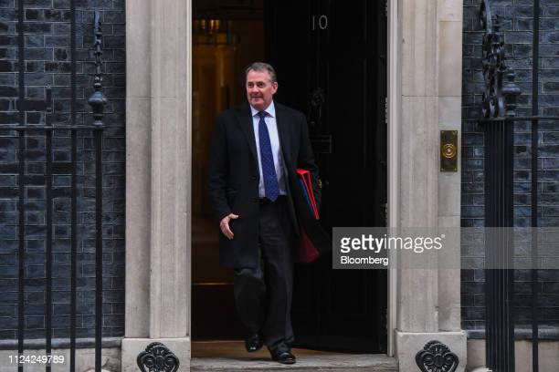 Liam Fox UK international trade secretary departs number 10 Downing Street following a weekly meeting of Cabinet minsters in London UK on Tuesday Feb...