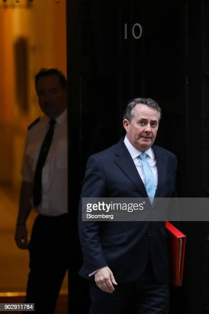 Liam Fox UK international trade secretary leaves following a weekly meeting of cabinet minister at number 10 Downing Street in London UK on Tuesday...