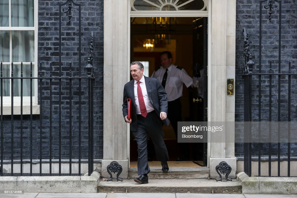 Liam Fox, U.K. international trade secretary, leaves following a weekly meeting of cabinet ministers at number 10 Downing Street in London, U.K., on Tuesday, March 13, 2018. U.K. Prime Minister Theresa May publicly accused Russia of a chemical weapon attack on British soil and warned of retaliatory measures that will further strain relations between the West and the Kremlin. Photographer: Simon Dawson/Bloomberg via Getty Images