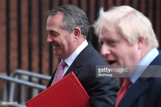 Liam Fox UK international trade secretary left and Boris Johnson UK foreign secretary depart following a cabinet meeting at number 10 Downing Street...