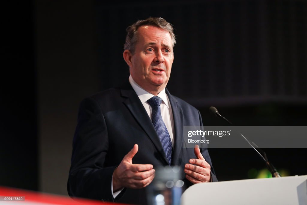 Liam Fox, U.K. international trade secretary, speaks at the British Chambers Of Commerce (BCC) annual conference in London, U.K., on Thursday, March 8, 2018. Many U.K. manufacturers are considering whether to build up stocks to ease the risk of Brexit-related trade delays, the head of one of the country's biggest business lobby groups said, after Airbus SE flagged the issue. Photographer: Simon Dawson/Bloomberg via Getty Images