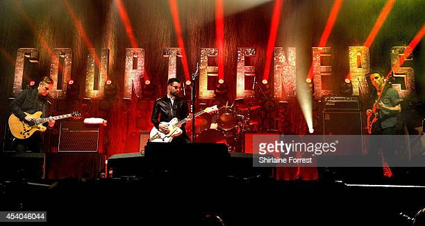 Liam Fray Daniel 'Conan' Moores and Mark Cuppello of the Courteeners perform on Day 2 of the Leeds Festival at Bramham Park on August 23 2014 in...