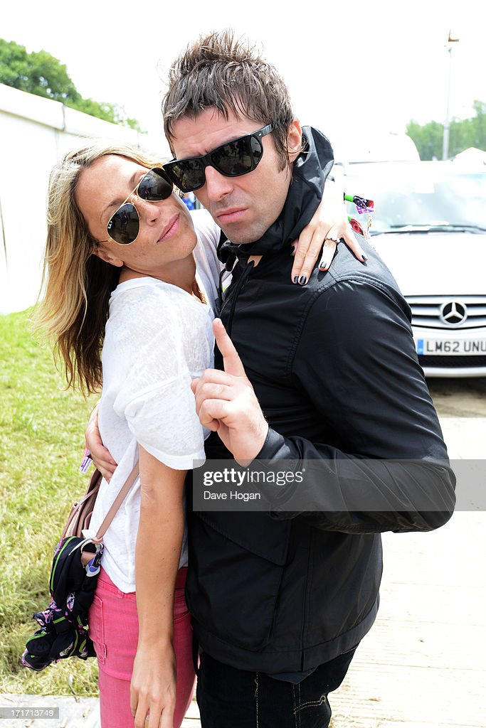 Liam Gallagher and Nicole Appleton pose backstage at day 2 of the 2013 Glastonbury Festival at Worthy Farm on June 28, 2013 in Glastonbury, England.