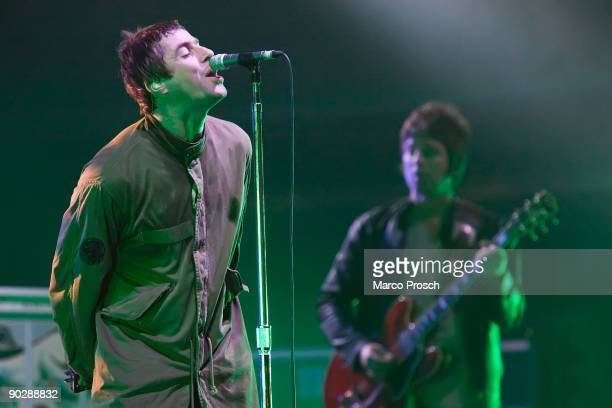 Liam Gallagher and Noel Gallagher of Oasis perform live at the Melt Festival in Ferropolis on July 19 2009 in Graefenhainichen Germany