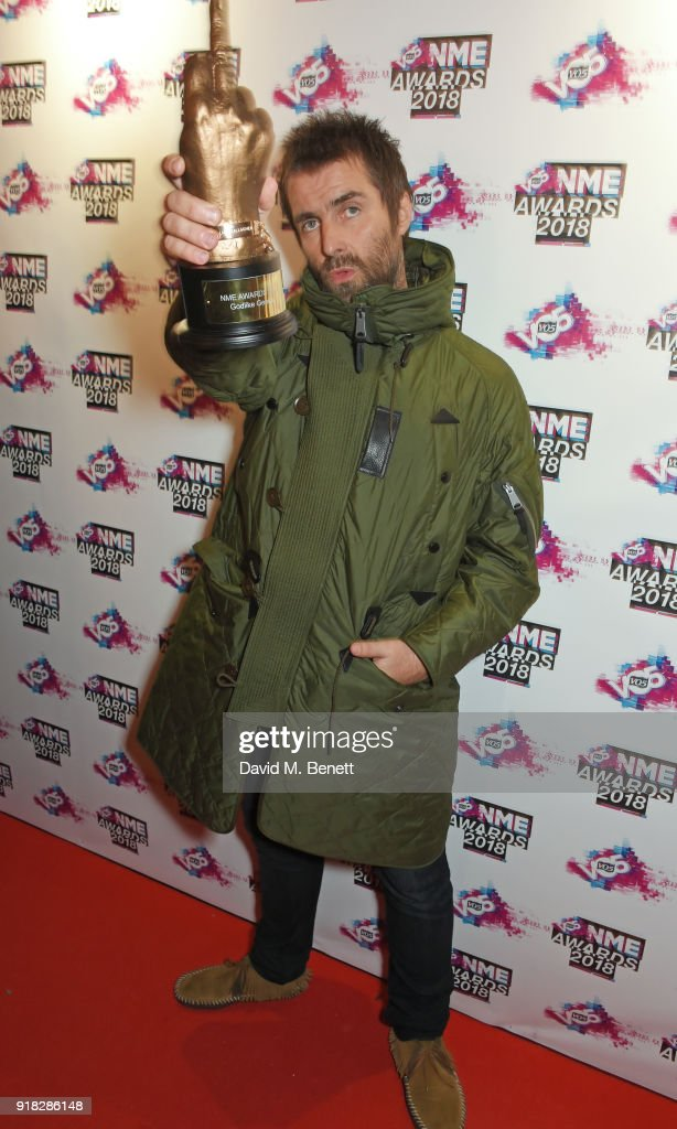 Liam Gallagher attends the VO5 NME Awards held at Brixton Academy on February 14, 2018 in London, England.