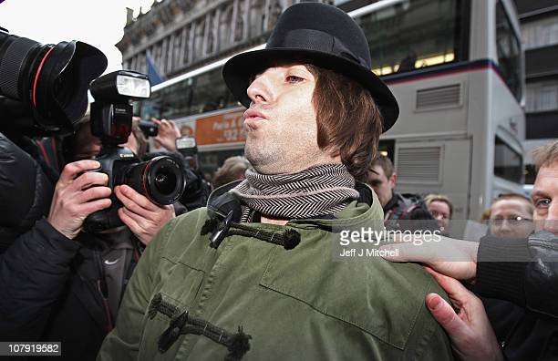 Liam Gallagher former Oasis front man arrives in Glasgow to open the clothing store Pretty Green on January 7 2011 in Glasgow Scotland Liam...