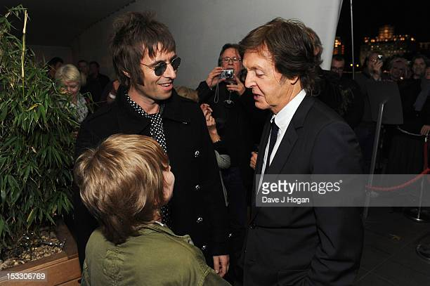 Liam Gallagher Gene Gallagher and Sir Paul McCartney attend a gala screening of Magical Mystery Tour at The BFI Southbank on October 2 2012 in London...