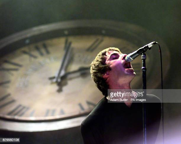 Liam Gallagher lead singer with Oasis during tonight's concert at Wembley Arena Photo by Adam Butler/PA/EDI