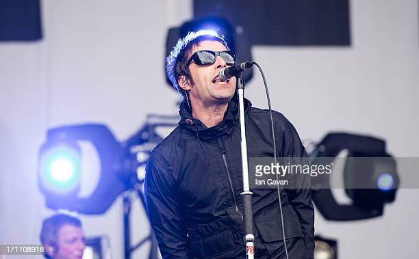 Liam Gallagher of 'Beady Eye' performs live on the Other Stage at day 2 of the 2013 Glastonbury Festival at Worthy Farm on June 28 2013 in...