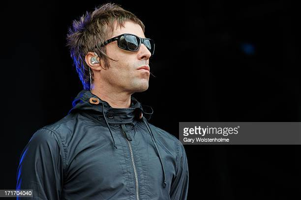 Liam Gallagher of Beady Eye performs on stage on Day 2 of Glastonbury Festival at Worthy Farm on June 28 2013 in Glastonbury England