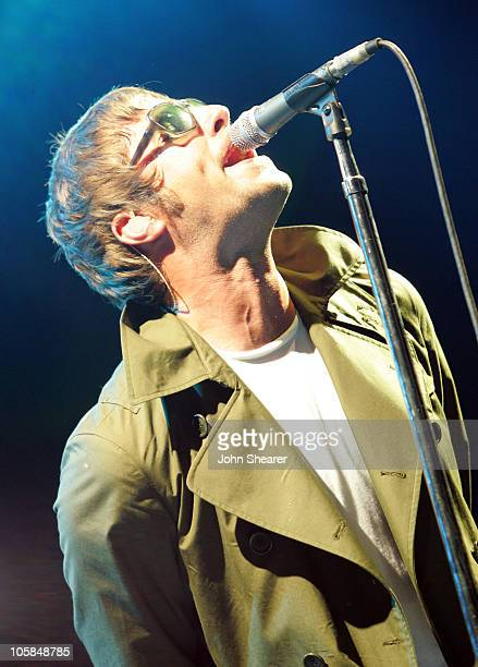 Liam Gallagher of Oasis during KROQ Inland Invasion 5 Show at Hyundai Pavilion at Glen Helen in Devore California United States