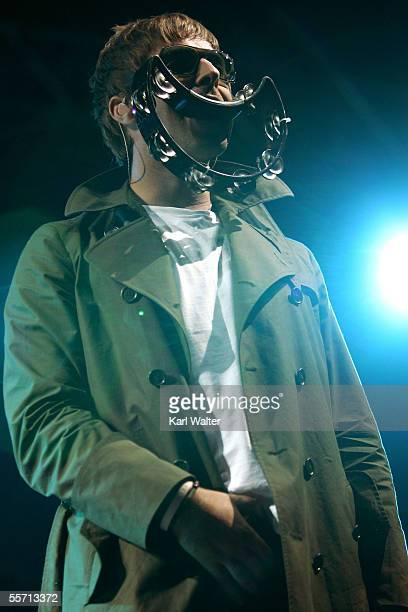 Liam Gallagher of Oasis performs at the Hyundai Pavilion at Glen Helen as part of KROQ's Inland Invasion 5 on September 17 2005 in San Bernardino...