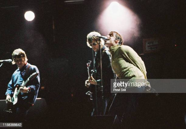 Liam Gallagher of Oasis performs on stage in Finsbury Park, on July 6th 2002, London, England.