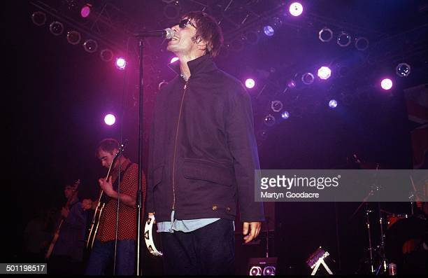 Liam Gallagher of Oasis performs on stage, United Kingdom, 1994.