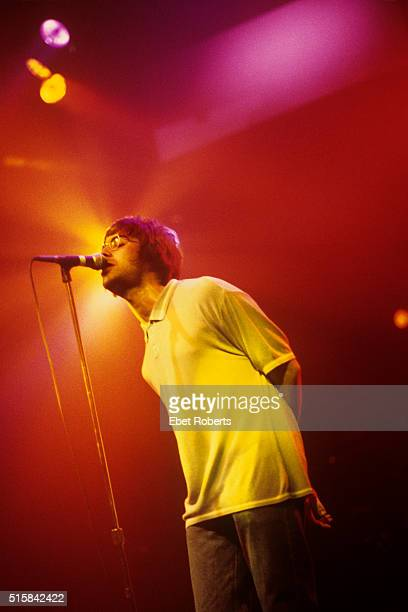 Liam Gallagher performing with Oasis at the Paramount Theater in New York City on March 13 1996