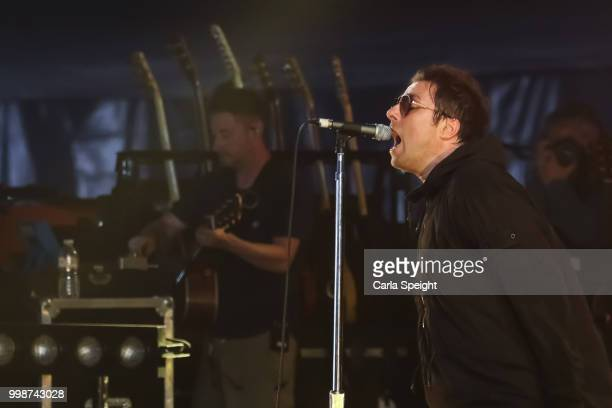 Liam Gallagher performs a secret set on the BBC Music stage at Latitude in Henham Park Estate on July 14 2018 in Southwold England