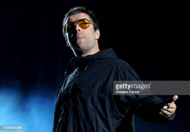 Liam Gallagher performs at Emirates Old Trafford on August 18 2018 in Manchester England