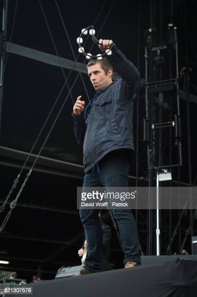 Liam Gallagher performs during first Lollapalooza Festival in France at Hippodrome de Longchamp on July 23 2017 in Paris France
